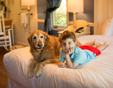 Child and Dog Laying on Bed